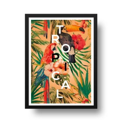 Quadro Poster Decorativo Tropical - Floral, Flores, Arara, Tucano