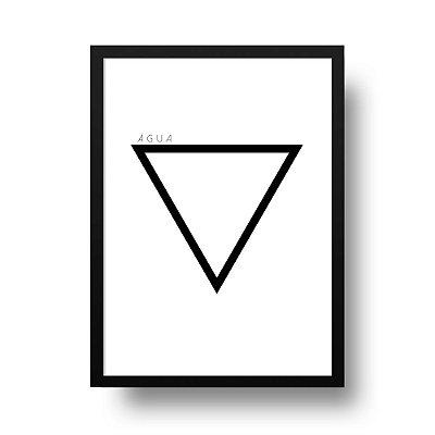 Quadro Poster Decorativo Elemento Água - Preto e Branco, Geométrico, Minimalista