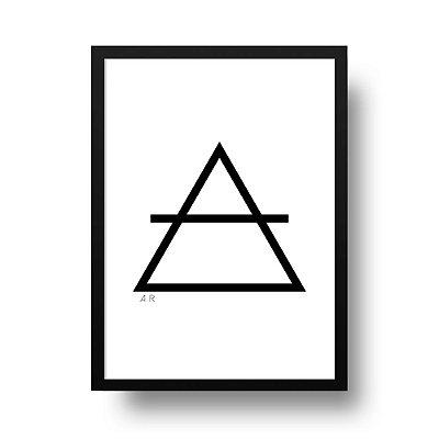 Quadro Poster Decorativo Elemento Ar - Preto e Branco, Geométrico, Minimalista