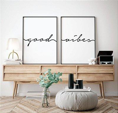 Conjunto 2 Quadros Decorativos Frase Good Vibes -  Composição, Minimalista