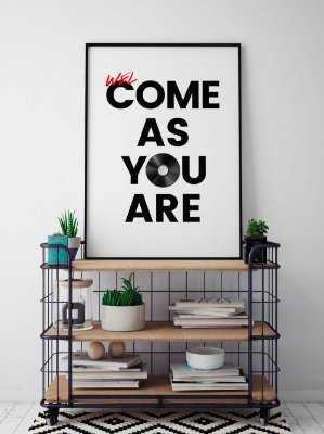 Quadro Decorativo Poster welCOME AS YOU ARE - Frase, Música, Banda, Rock, Nirvana