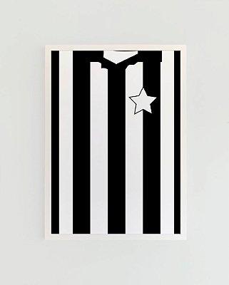 Quadro Decorativo Poster Alma Da City Alvinegro Carioca - Camisa, Time, Futebol, Glorioso