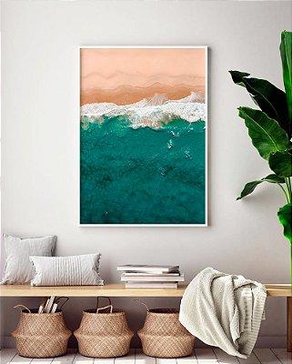 Quadro Decorativo Poster Fotografia Praia Vista Aérea - Mar, Azul, Areia