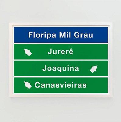 Quadro Decorativo Poster Floripa Mil Grau Placa Praias - Coleção Limitada