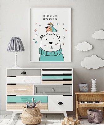 Quadro Decorativo Poster Asas aos Sonhos - Urso, Pássaro, Infantil