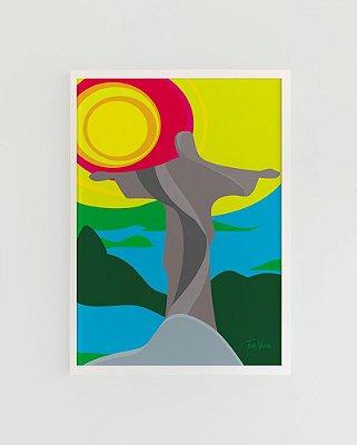 Quadro Decorativo Poster Cristo Redentor Tom Veiga - Rio de Janeiro, Corcovado