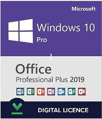 COMBO Microsoft Windows 10 Pro e Office 2019 Pro Plus 32/64 Bits Original + Nota Fiscal