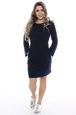 Vestido de Moletinho Azul Marinho com Detalhes em Viscolycra Azul Noite - RF0148