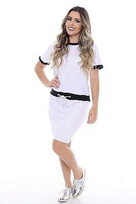 Vestido de Moleton Branco com Detalhes em Preto - RF0149