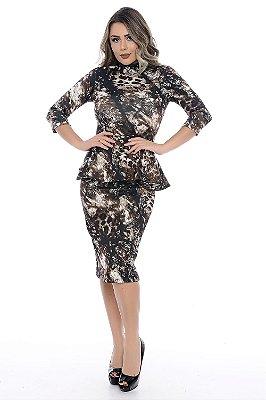 Vestido Peplum Estampado - RF0151