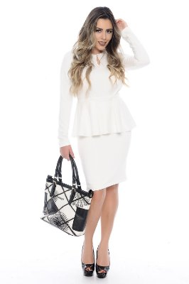 Vestido Peplum Off White - RF 0153