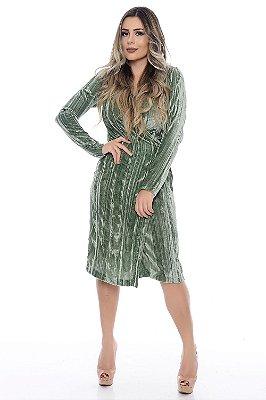 Vestido Transpassado Veludo - Verde Militar - RF0155