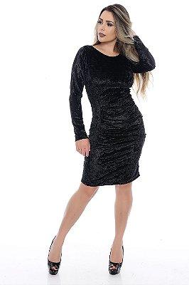 Vestido Plissado Preto Veludo Molhado - RF0162