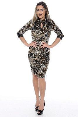 Vestido com Gola Japonesa Estampado Veludo Molhado - RF0166