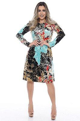 Vestido Gode Estampado Veludo Molhado com Detalhes em Ilhós - RF0164