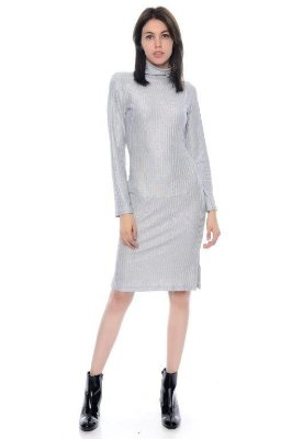 Vestido Metálico com Gola Alta - RF:0255