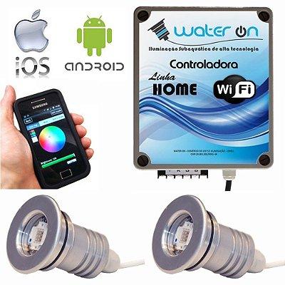 Kit Iluminação Piscina 2 Refletores 12w Led + Controle Wifi SMART