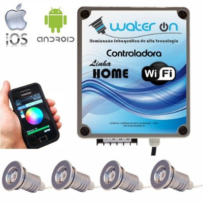 Kit Iluminação Piscina 4 Refletores 12w Led + Controle Wifi SMART