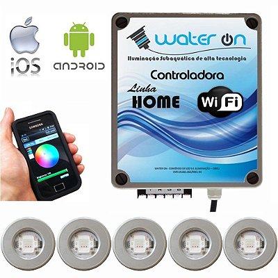Kit Iluminação Piscina 5 Refletores 12w Led + Controle Wifi SMART