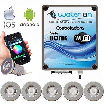 Kit Iluminação Piscina 6 Refletores 12w Led + Controle Wifi SMART
