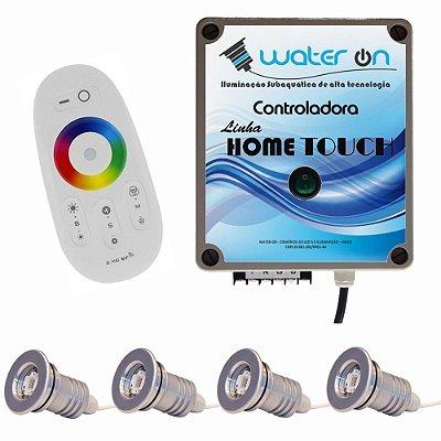 Kit Iluminação Piscina 4 Refletores 12w Led + Controle Touch