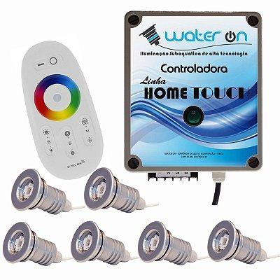 Kit Iluminação Piscina 6 Refletores 12w Led + Controle Touch