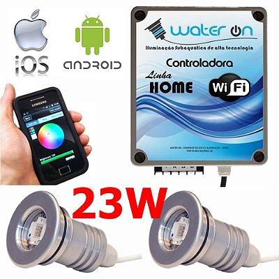 Kit Iluminação Piscina 2 Refletores 23w Led + Controle Wifi SMART