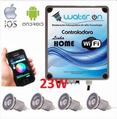 Kit Iluminação Piscina 4 Refletores 23w Led + Controle Wifi SMART