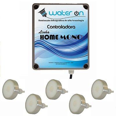 Kit Iluminação Piscina 5 Refletores 12w Led BRANCO + Comando MONO