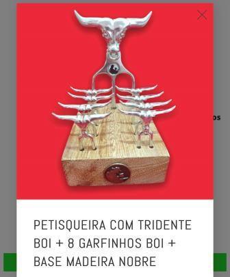 PETISQUEIRA COM TRIDENTE BOI + 8 GARFINHOS BOI + BASE MADEIRA NOBRE