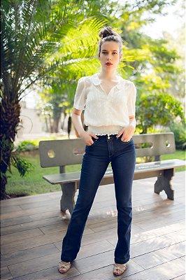 Calça Flare Jeans Escuro - Loopper - K2969566