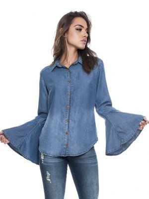 Camisa Jeans Manga Flare - LEMIER - 53245