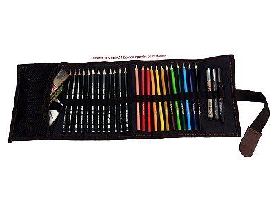 Estojo De Enrolar Mini para Desenhar E Colorir Marrom (p)