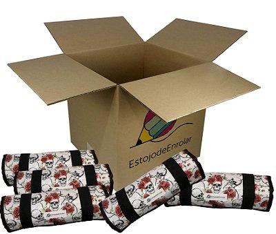 Pacote de Revenda contendo 10 Estojo De Enrolar Estampas Caveiras E Rosas (m)