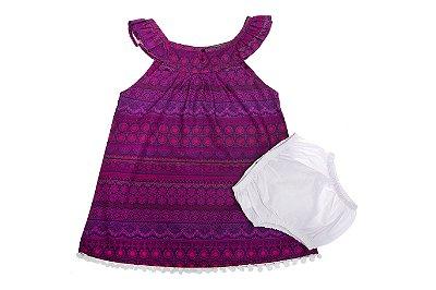 Vestido Tapa Fralda Renda Roxa