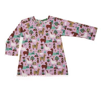 Vestido Pompom Lhama Rosa
