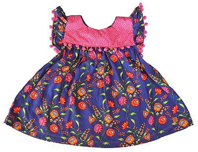 Kit Vestido Azul e Pink Flores