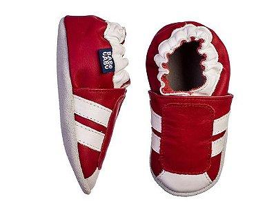 Tênis Listras Vermelho e Branco