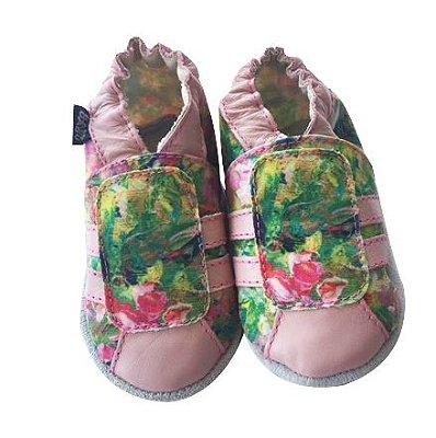 Tênis Listras Floral Rosa