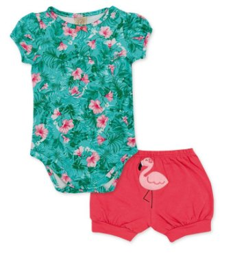 Body e Short Flamingo