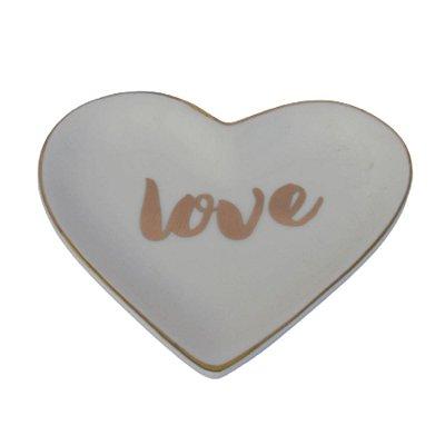 Prato Porta Anéis Coração LOVE