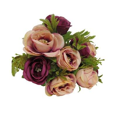 Flor Rosa c/5 Es0001 duas cores 25cm