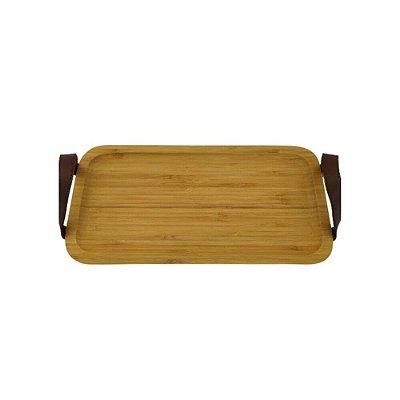 Bandeja Retangular de Bambu c/ alças de couro marrom