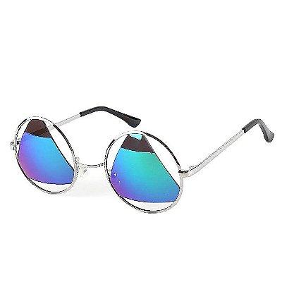 Óculos Redondo Lente Triangular Espelhada