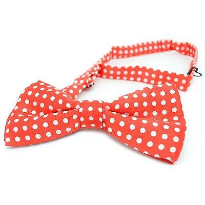 Gravata Borboleta Vermelha Bolinhas