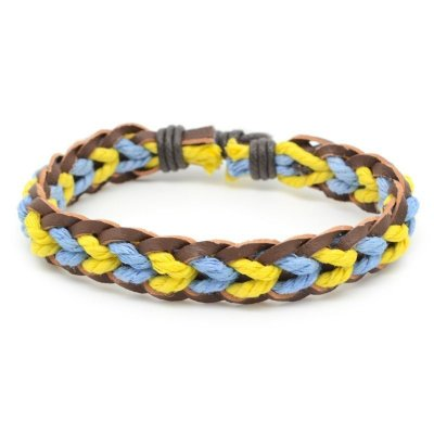 Pulseira Corda Trançada Azul e Amarelo