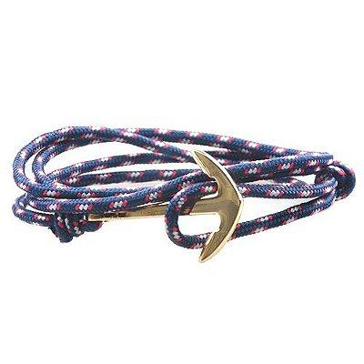 Pulseira Âncora Quatro Voltas Corda Naval Azul