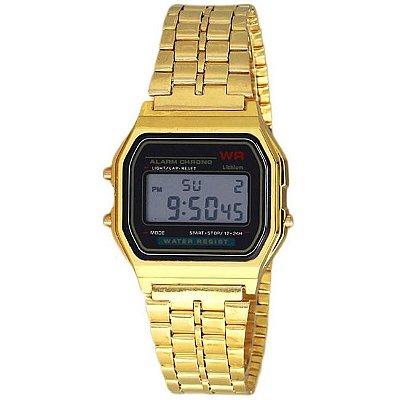 Relógio Digital Masculino Vintage Dourado
