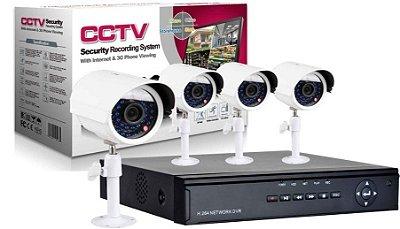 DVR CCTV H-264 - KIT 4 Câmeras - 4 Canais - Gravador - Preto