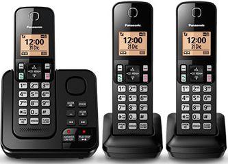 Telefone Sem Fio Panasonic KXTG-C363LAB - 3 Ramais - Secretaria Eletrônica - Bina - Preto
